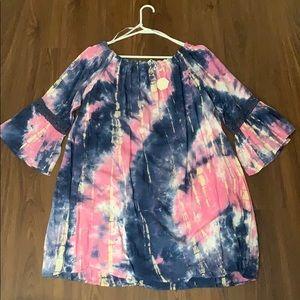NWT PinkBlush Off the Shoulder Tie Dye Dress